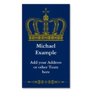 Corona real de oro + su backgr. y texto tarjetas de visita magnéticas (paquete de 25)