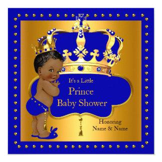 """Corona real del muchacho azul del príncipe fiesta invitación 5.25"""" x 5.25"""""""