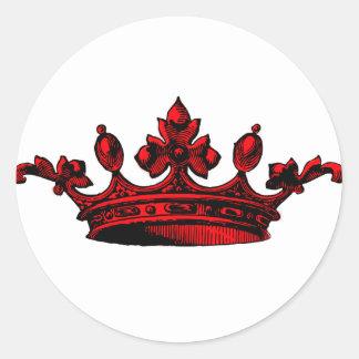 Corona real en el príncipe rojo, princesa, rey, pegatina redonda