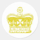 Corona real pegatina redonda