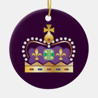Corona real tradicional adorno navideño redondo de cerámica