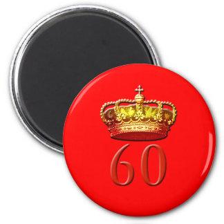 Corona real y 60 para el jubileo de diamante imán redondo 5 cm