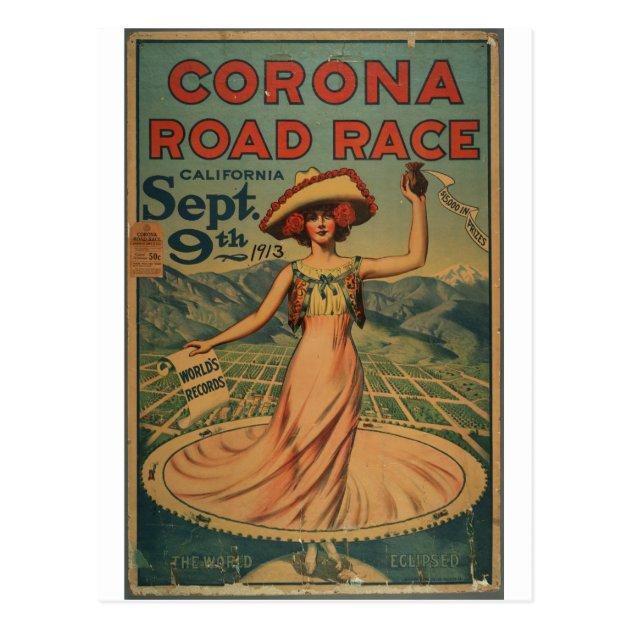 Corona California 1913 Advertising Poster Corona Road Race