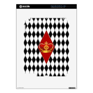 Corona roja del oro y diamantes blancos y negros iPad 2 skin