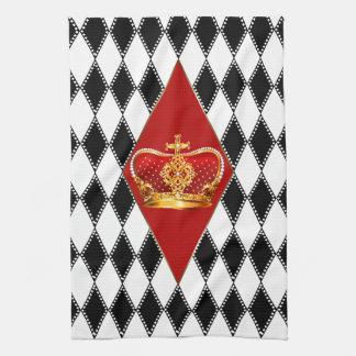 Corona roja del oro y diamantes blancos y negros toalla