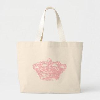 Corona rosada bolsa tela grande