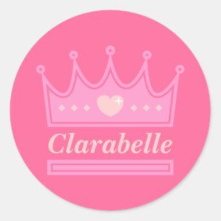 Corona rosada para la princesa real pegatina redonda