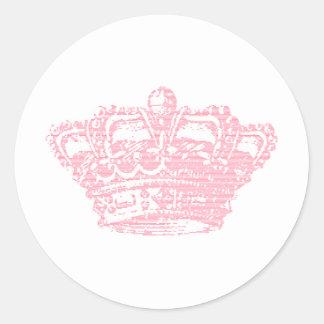 Corona rosada etiqueta redonda