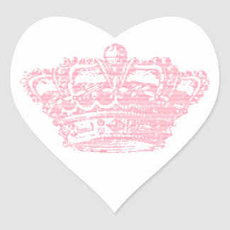 Corona rosada pegatina corazón personalizadas