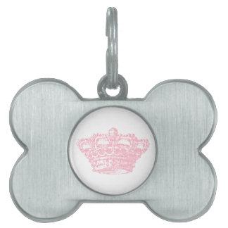 Corona rosada placa de mascota