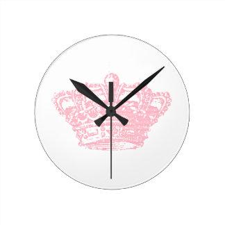 Corona rosada reloj de pared