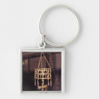 Corona votiva de un rey de Visigoth Llavero Cuadrado Plateado