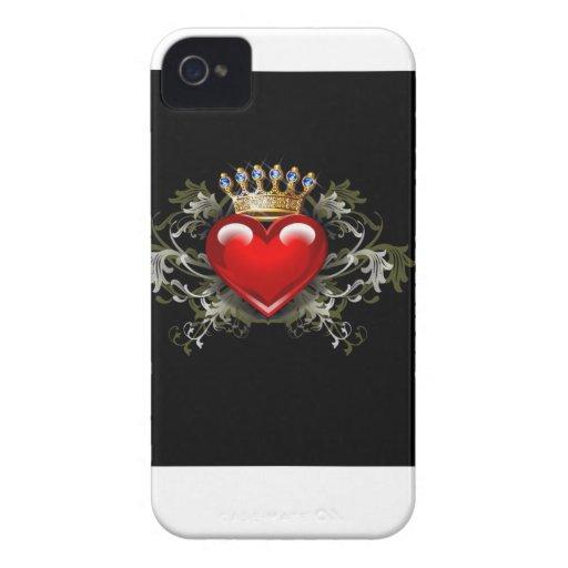 Corona y corazón iPhone 4 carcasas