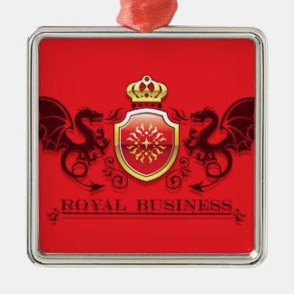 Corona y escudo de oro del escudo de armas con los adorno navideño cuadrado de metal