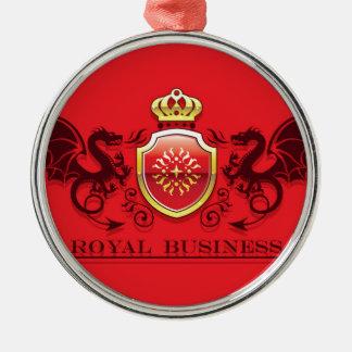 Corona y escudo de oro del escudo de armas con los adorno navideño redondo de metal