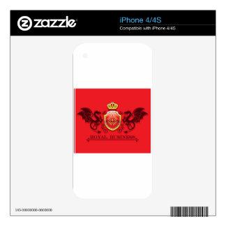 Corona y escudo de oro del escudo de armas con los calcomanía para iPhone 4S