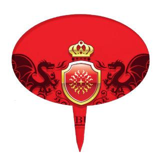 Corona y escudo de oro del escudo de armas con los figura para tarta