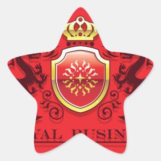 Corona y escudo de oro del escudo de armas con los pegatina en forma de estrella