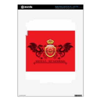 Corona y escudo de oro del escudo de armas con los pegatina skin para iPad 3