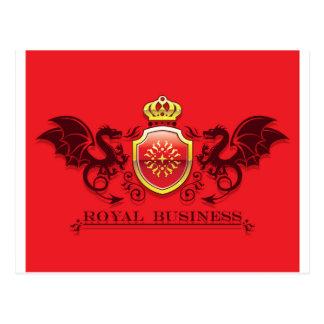 Corona y escudo de oro del escudo de armas con los tarjetas postales