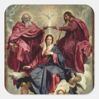 Coronación de la Virgen, c.1641-42 Calcomania Cuadrada Personalizada