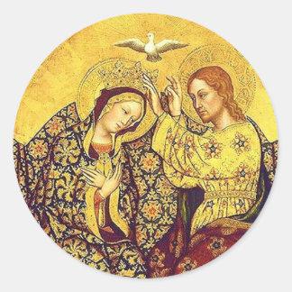 Coronación de los pegatinas bendecidos del Virgen Pegatina Redonda