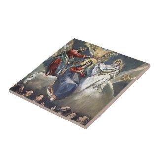 Coronación del EL Greco- de la Virgen Azulejo Cerámica
