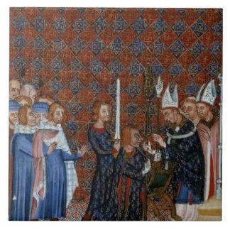 Coronación f.58 de ms Tiberius B Viii de rey Charl Azulejo Cuadrado Grande