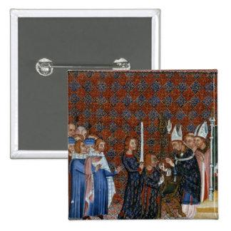 Coronación f.58 de ms Tiberius B Viii de rey Charl Pin Cuadrada 5 Cm