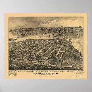 Coronado Beach, CA Panoramic Map - 1880s Poster