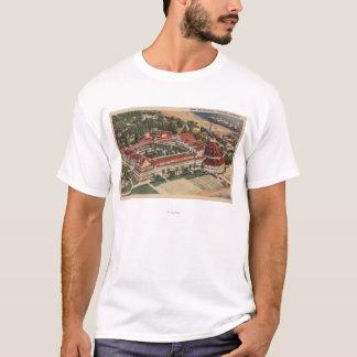 Coronado, CA - Bird's Eye of Hotel del Coronado T-Shirt