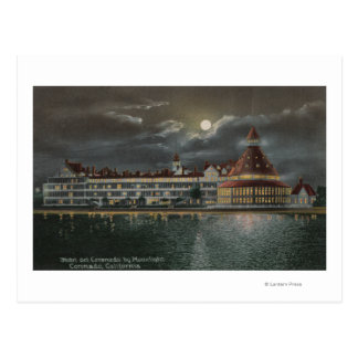 Coronado CA - opinión iluminada por la luna Hotel Tarjeta Postal