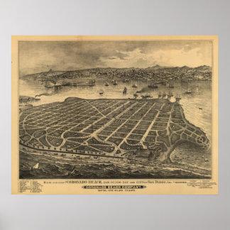 Coronado California 1880s Antique Panoramic Map Poster