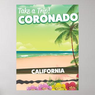 Coronado California beach travel poster