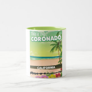 Coronado California beach travel poster Two-Tone Coffee Mug
