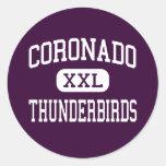 Coronado - Thunderbirds - alto - El Paso Tejas Pegatina Redonda
