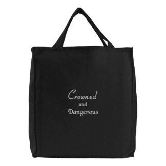 Coronado y peligroso bolsas de lienzo