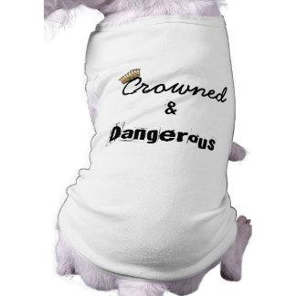 Coronado y peligroso playera sin mangas para perro