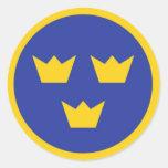 Coronas de Tre del sueco Pegatina Redonda