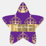 Coronas del oro en púrpura pegatinas forma de estrella personalizadas