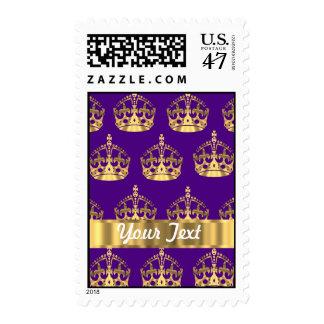 Coronas del oro en púrpura timbres postales