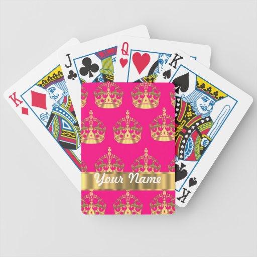 Coronas del oro en rosas fuertes baraja de cartas