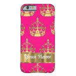Coronas del oro en rosas fuertes funda de iPhone 6 barely there