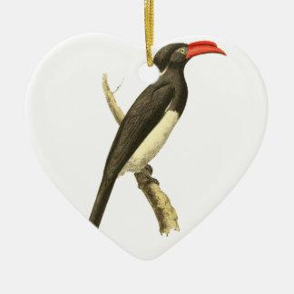 Coronated Hornbill Bird Illustration Ceramic Ornament