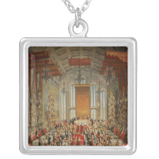 Coronation Banquet of Joseph II in Frankfurt Square Pendant Necklace