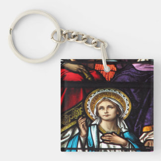 Coronation of Blessed Virgin Mary Stained Glass Keychain