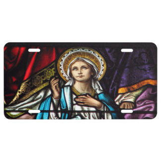 Coronation of Blessed Virgin Mary Stained Glass License Plate