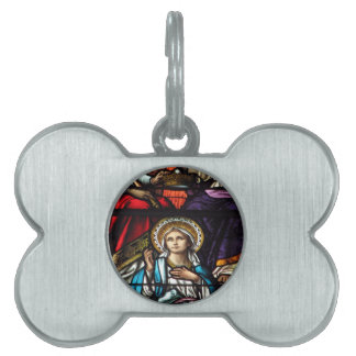 Coronation of Blessed Virgin Mary Stained Glass Pet ID Tag
