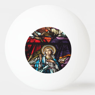 Coronation of Blessed Virgin Mary Stained Glass Ping-Pong Ball