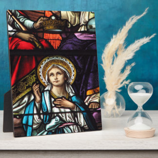 Coronation of Blessed Virgin Mary Stained Glass Plaque